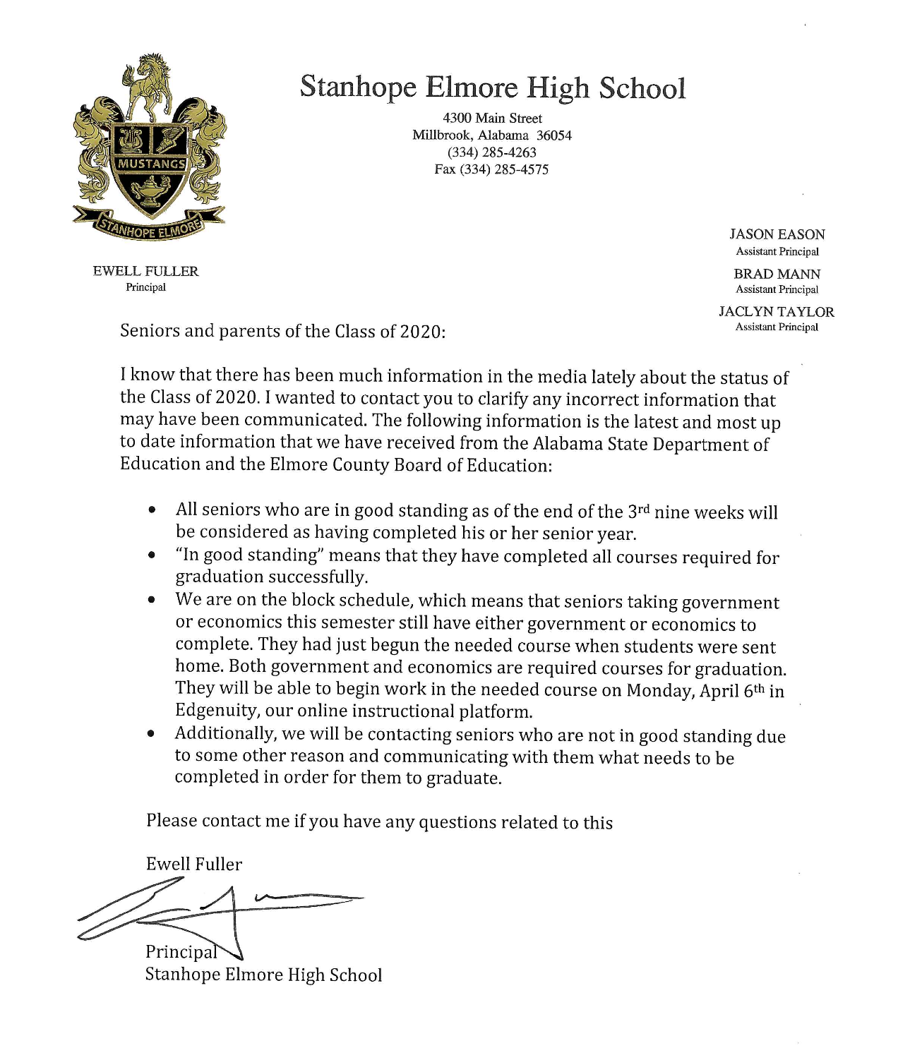 PICTURE of senior letter from Fuller