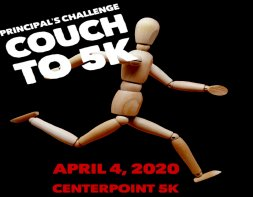 figure running with text which reads Principle's Challenge:  couch to 5K April 4th 2020 Centerpoint 5K