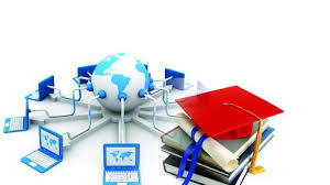picture of laptops connected to a globe with graduation cap