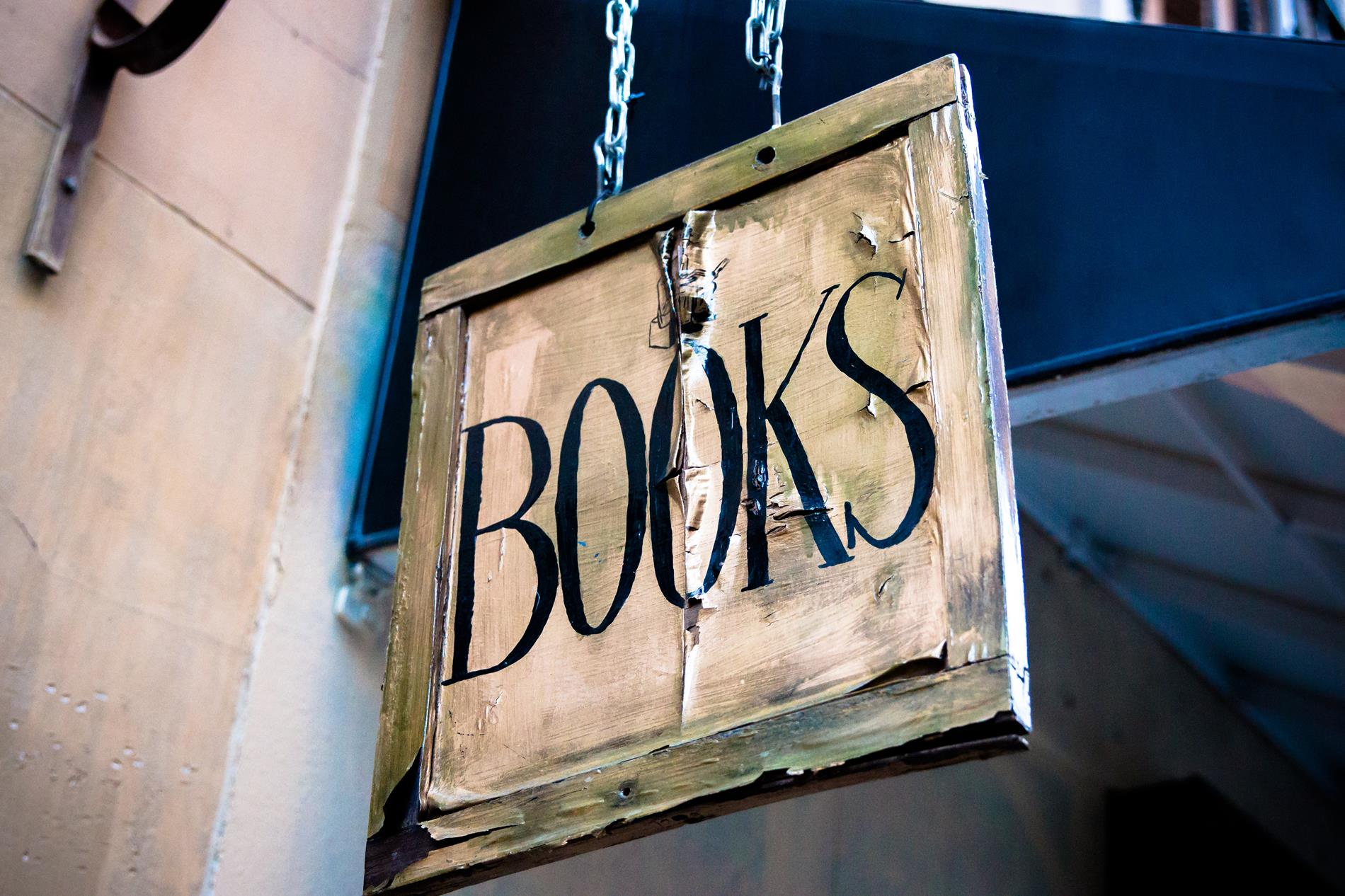 """books"" store sign"