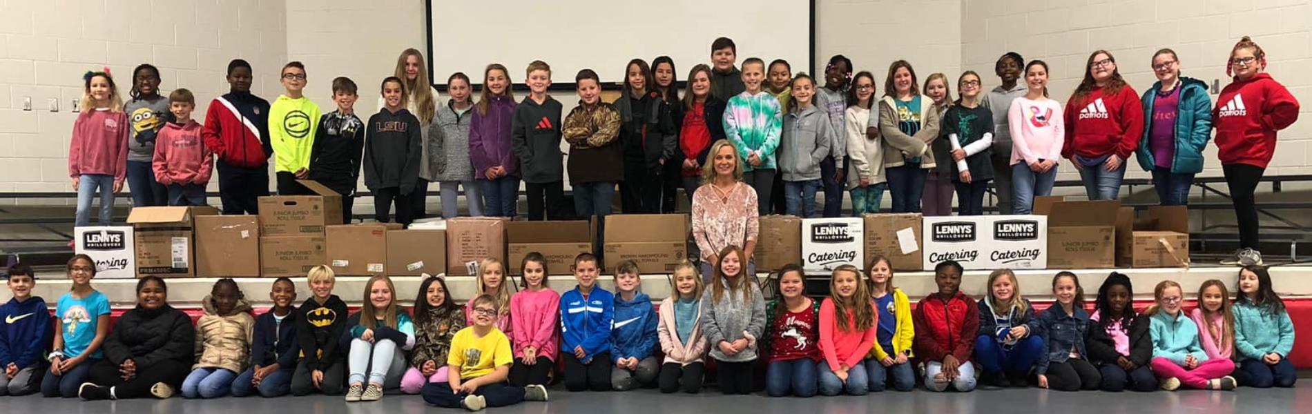 Group of Students with Mrs. House for food drive