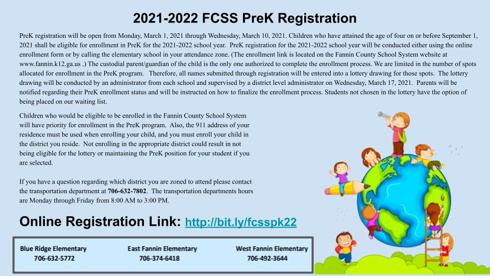 2021-2022 FCSS PreK Registration