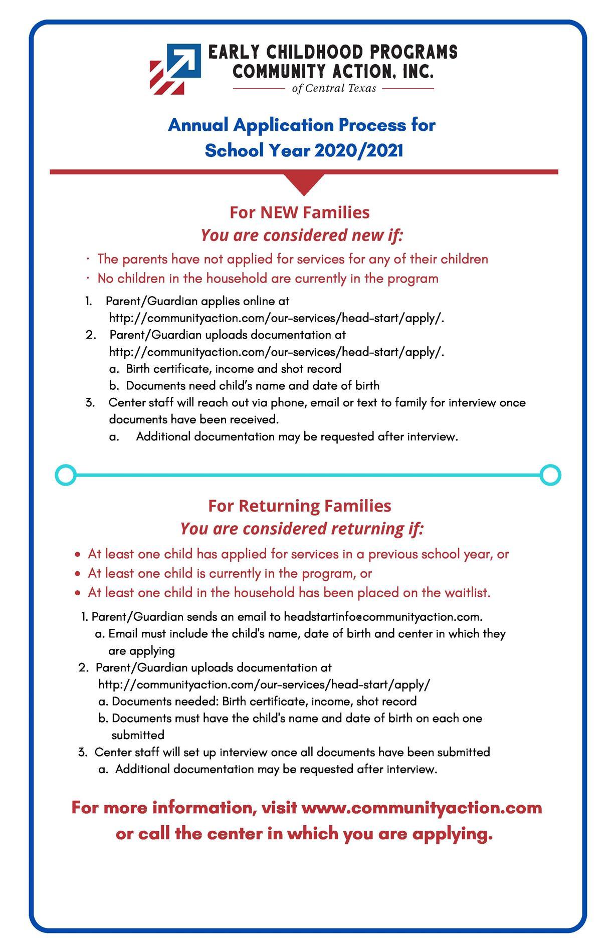 Head Start Annual Application Process 2020-2021