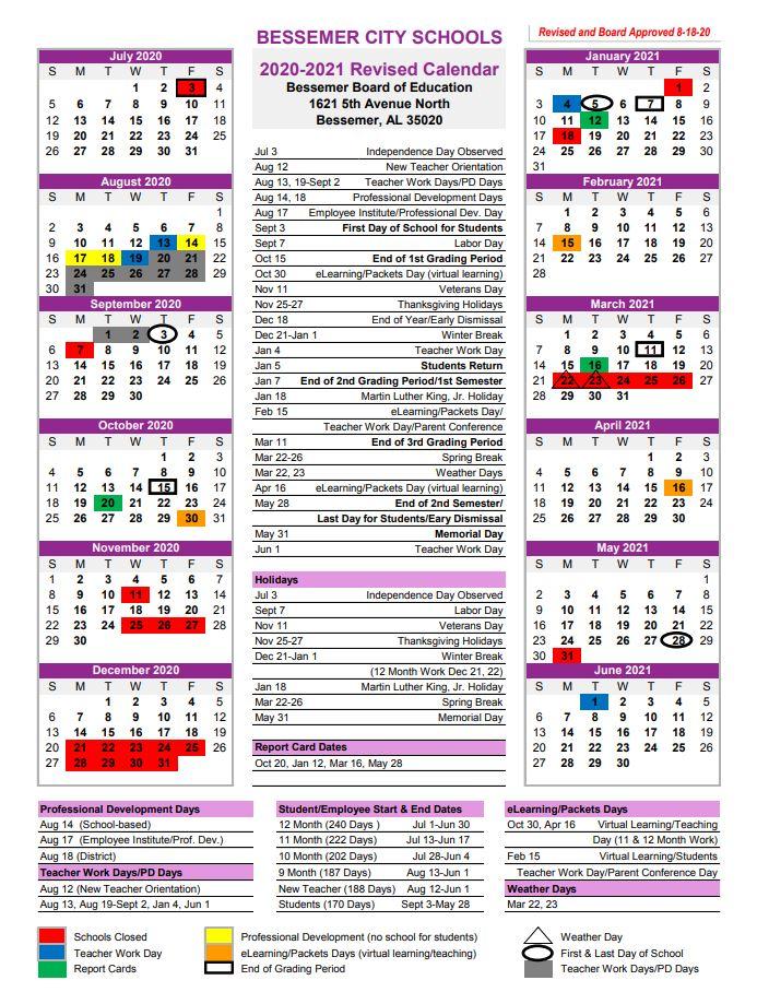 2020-2021 BCS Calendar