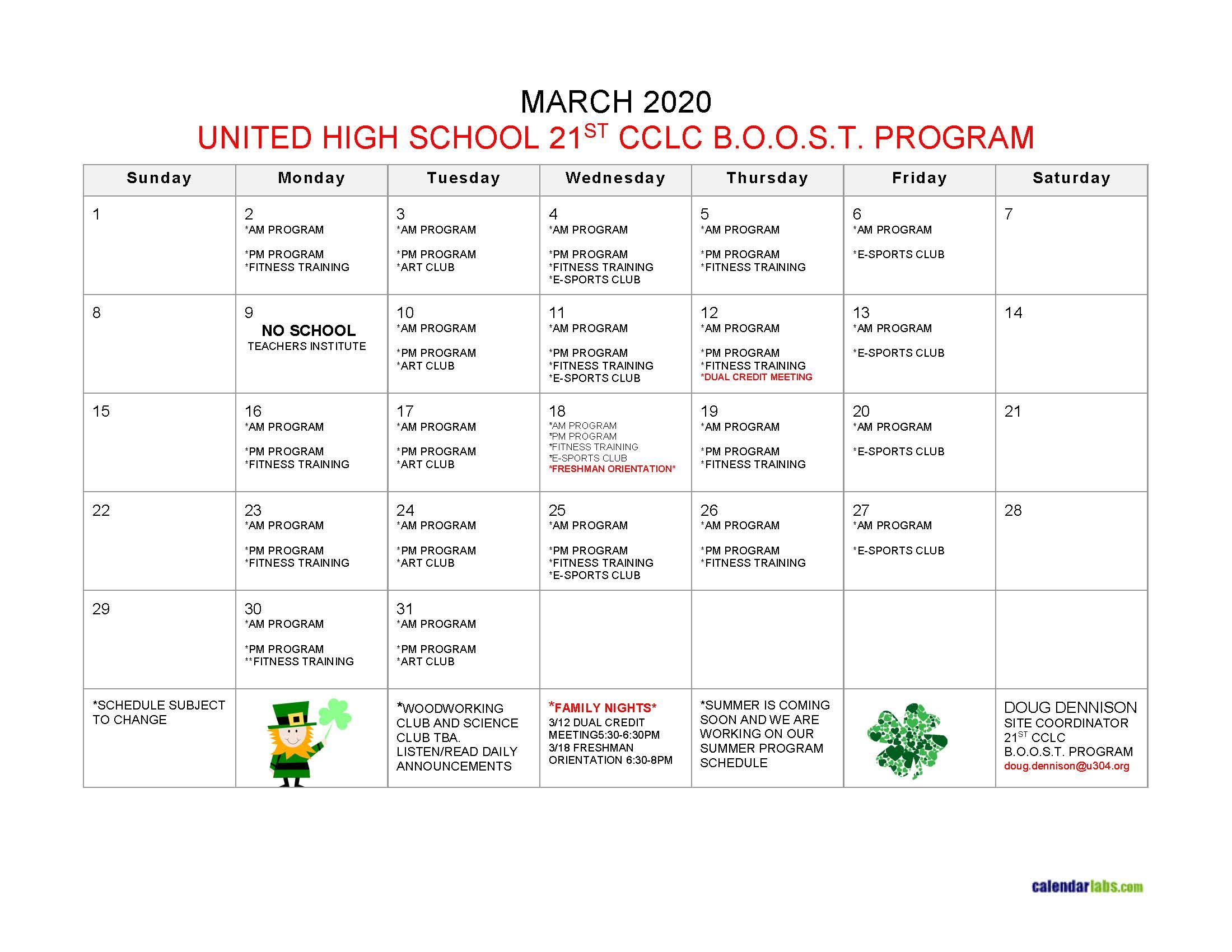 UHS Boost Calendar