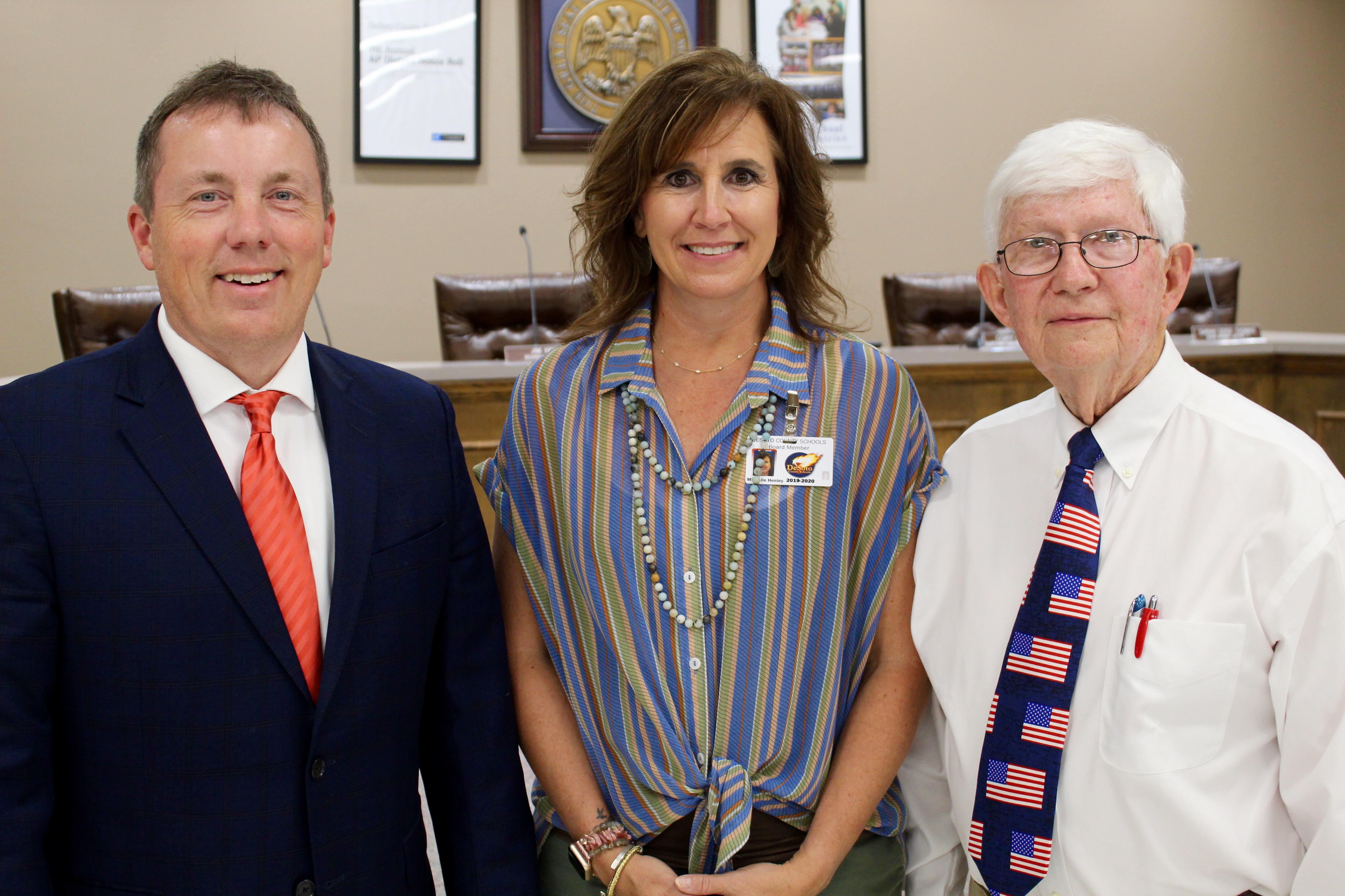 Supt. Uselton, Board Secretary Michele Henley, School Board President Milton Nichols