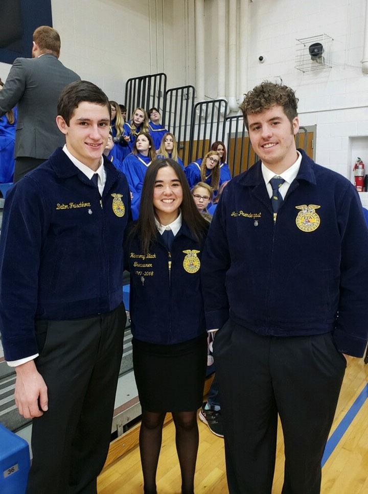 FFA members, Dalton Frischkorn, Harmony Black, and Jacob Prendergast.