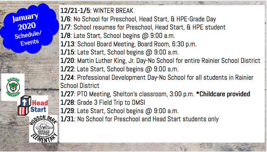 January 2020 Schedule/Events
