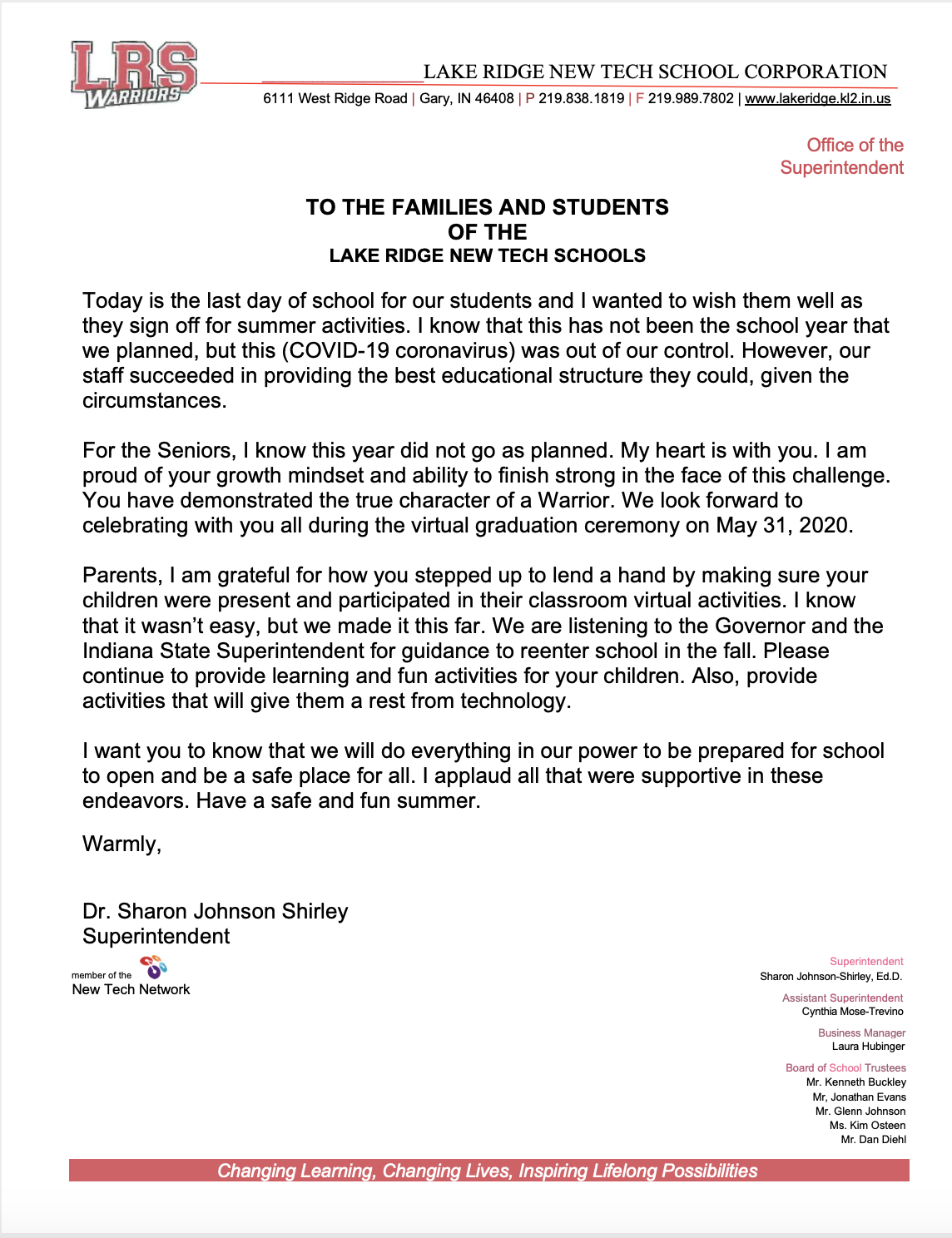 Superintendents Letter 5-15-2020