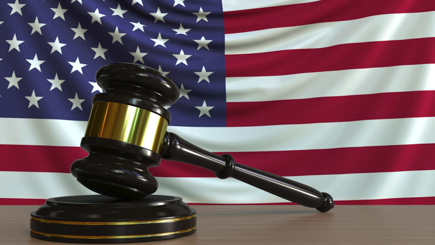 gavel and America flag