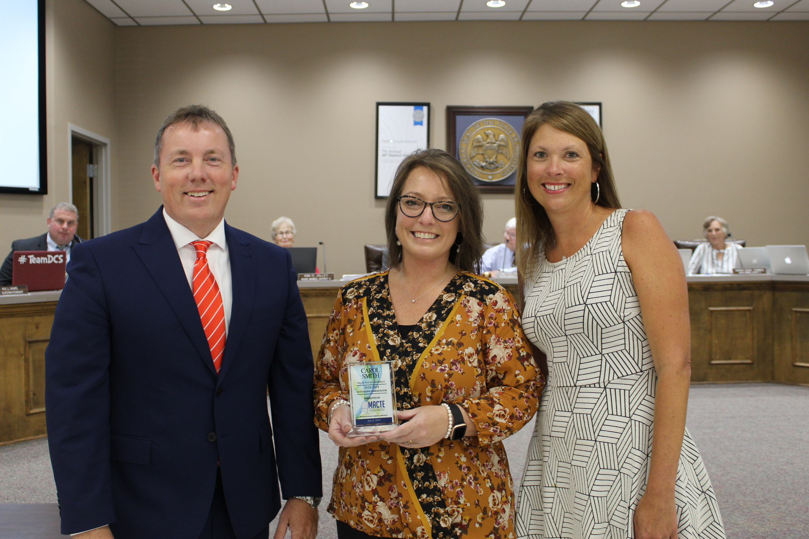 Supt. Cory Uselton, Principal Carol Smith, and Executive Director of Elementary Education Amanda Samples
