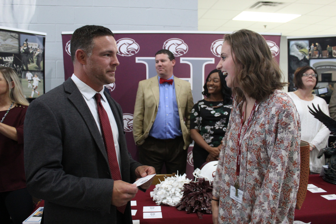 Mr. Toungett welcomes new teacher.