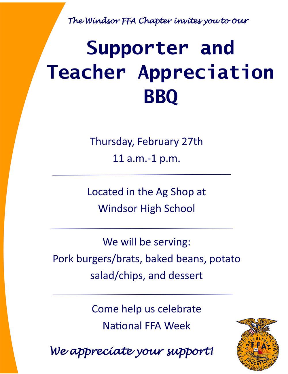 FFA Supporter and Teacher Appreciation BBQ