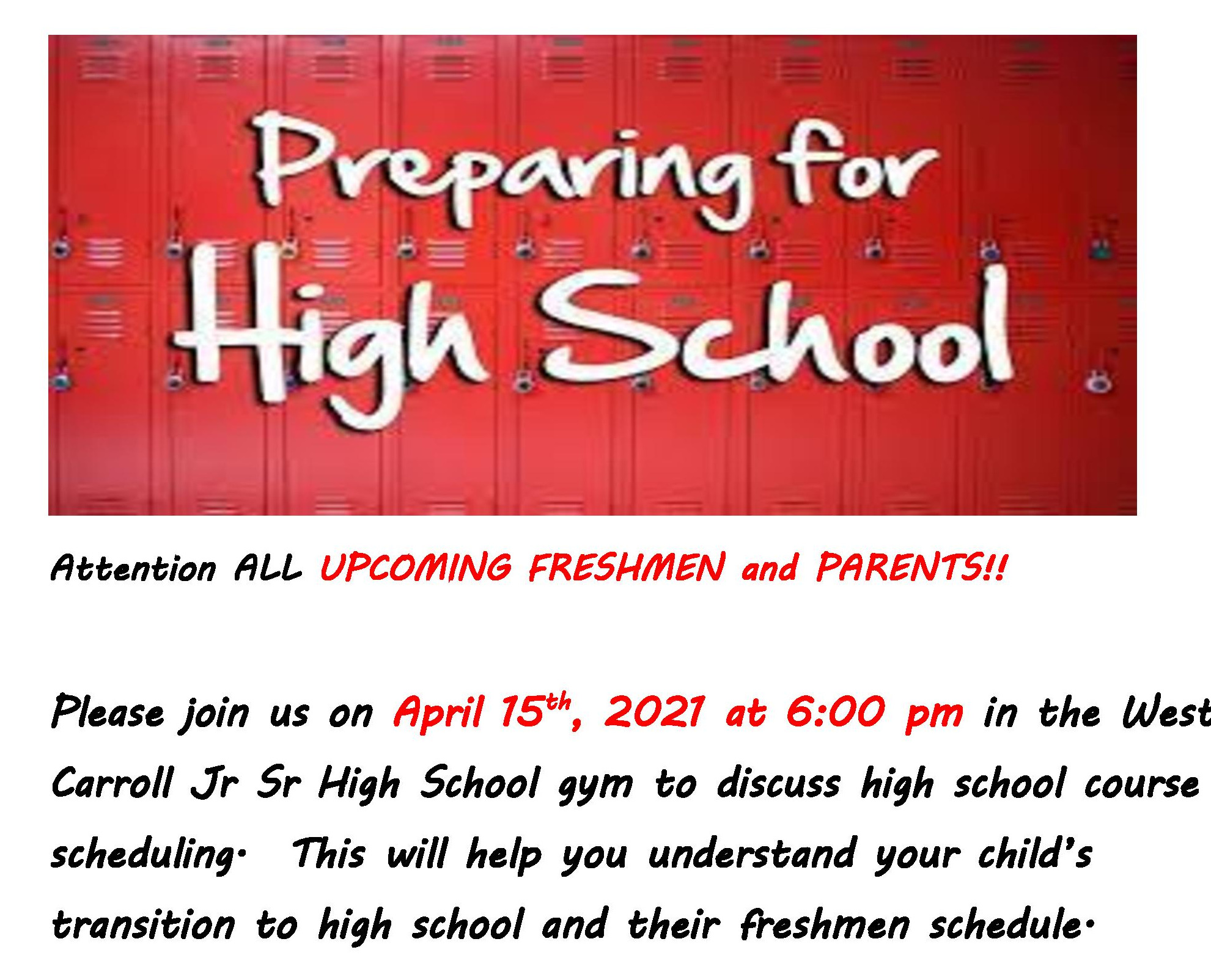 An announcement for 8th grade parent and student night