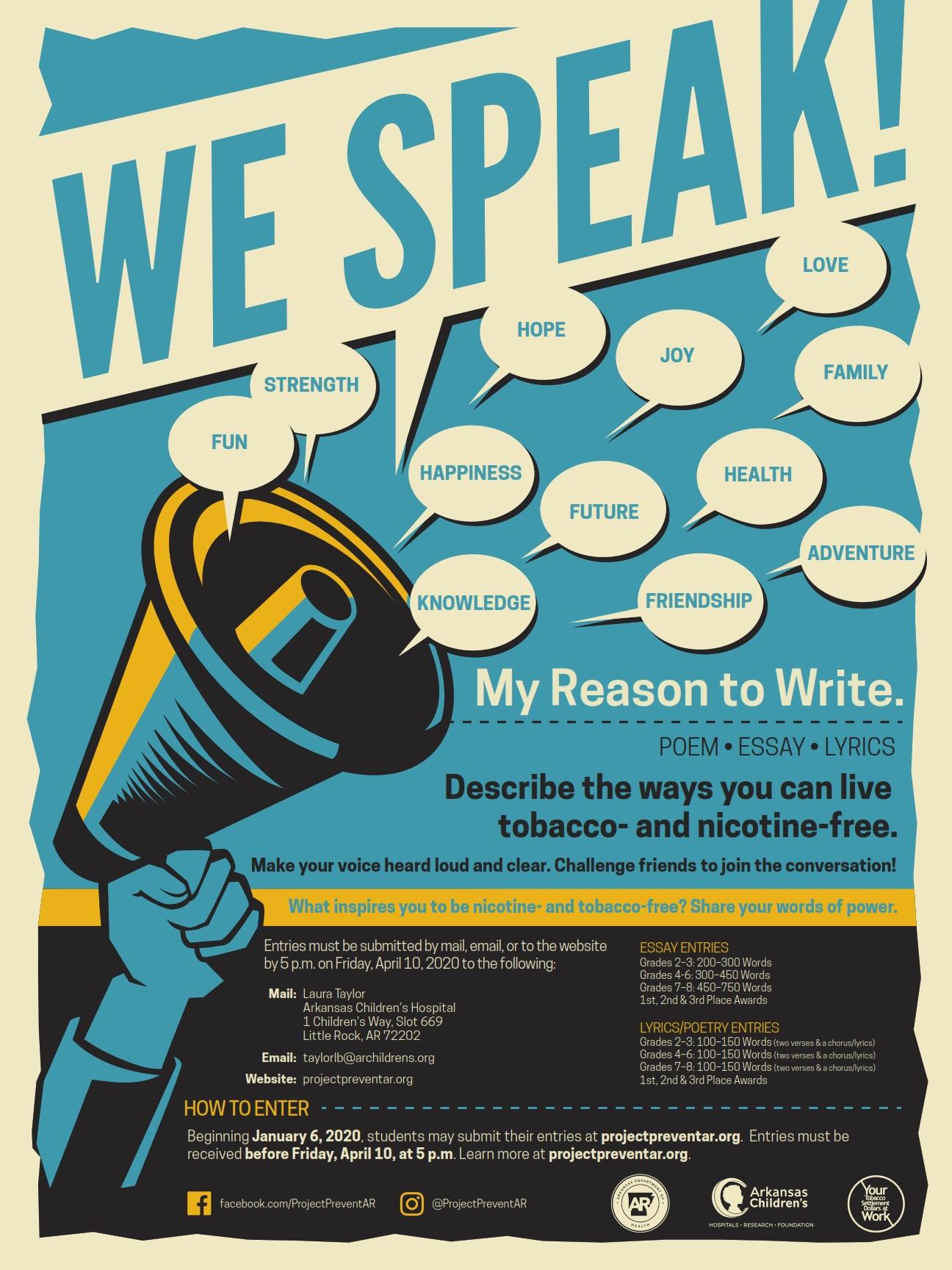 WE SPEAK! My Reason to Write contest poster