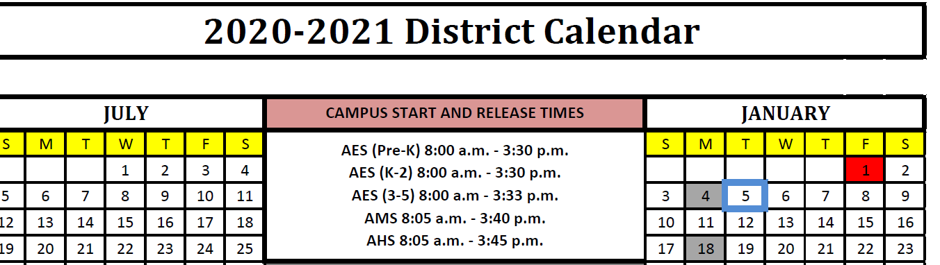 Approved 2020-2021 District Calendar