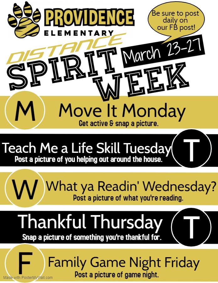 Distance Spirit Week Flyer