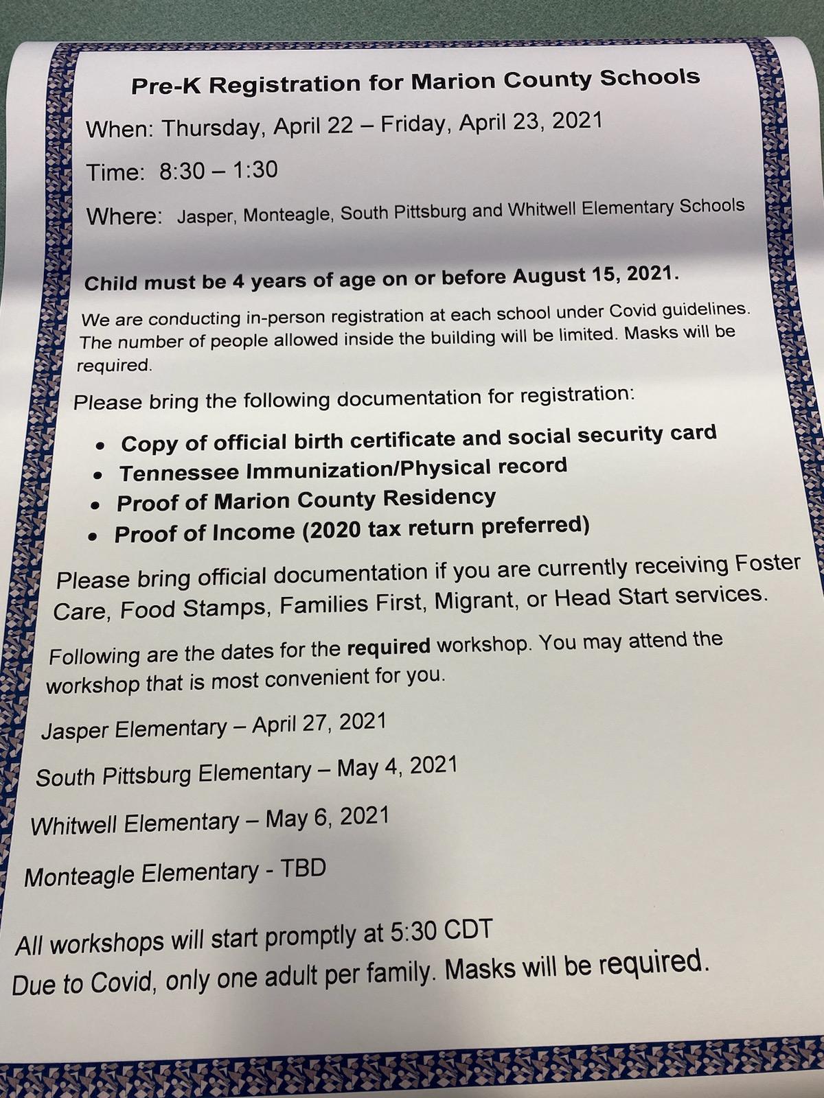 prek registration