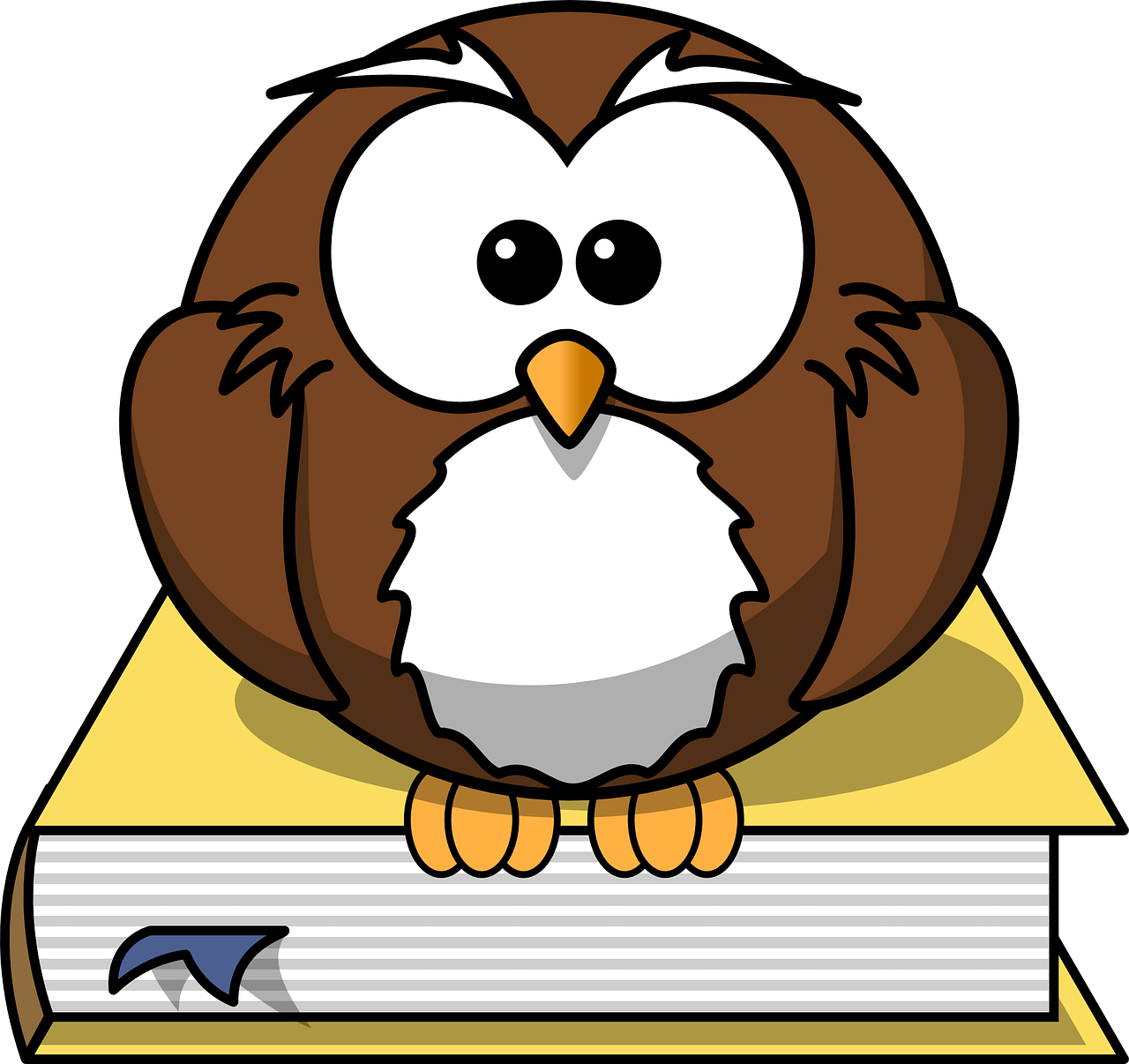 illustration of cute, fluffy, small, brown owl perched on a book