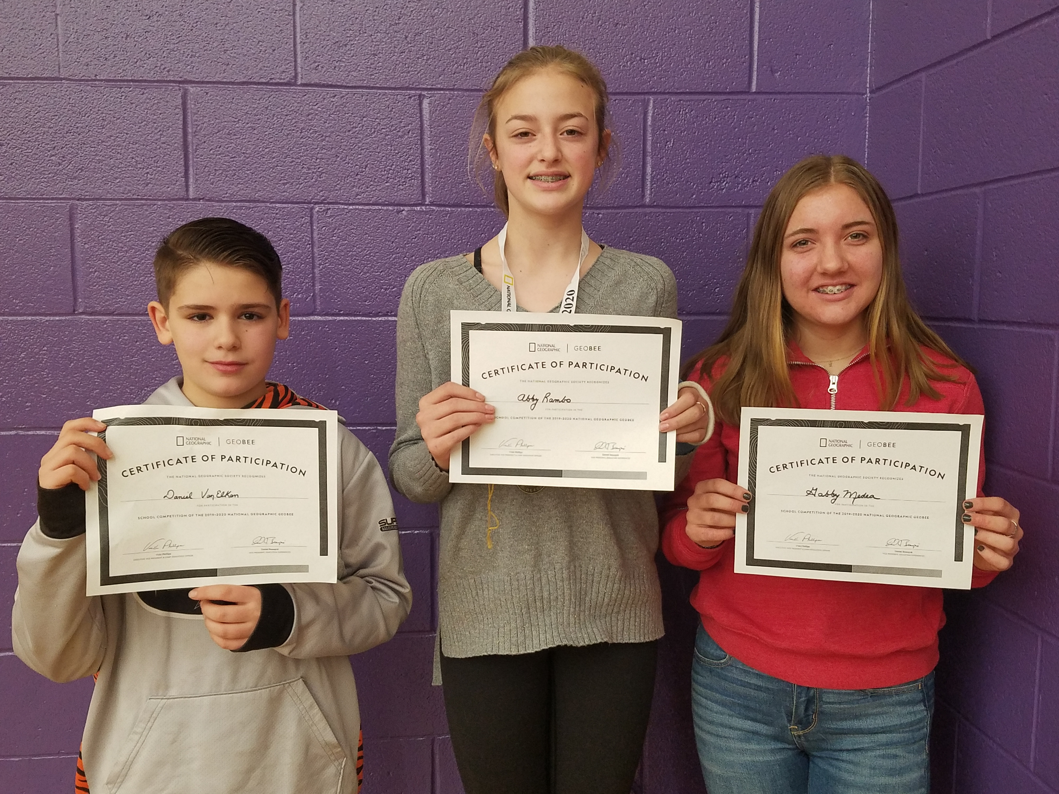 Students winners of Geography Bee