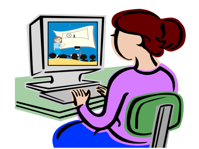 Cartoon of woman watching a lecture on a computer screen