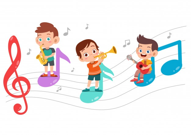 Children and music notes image