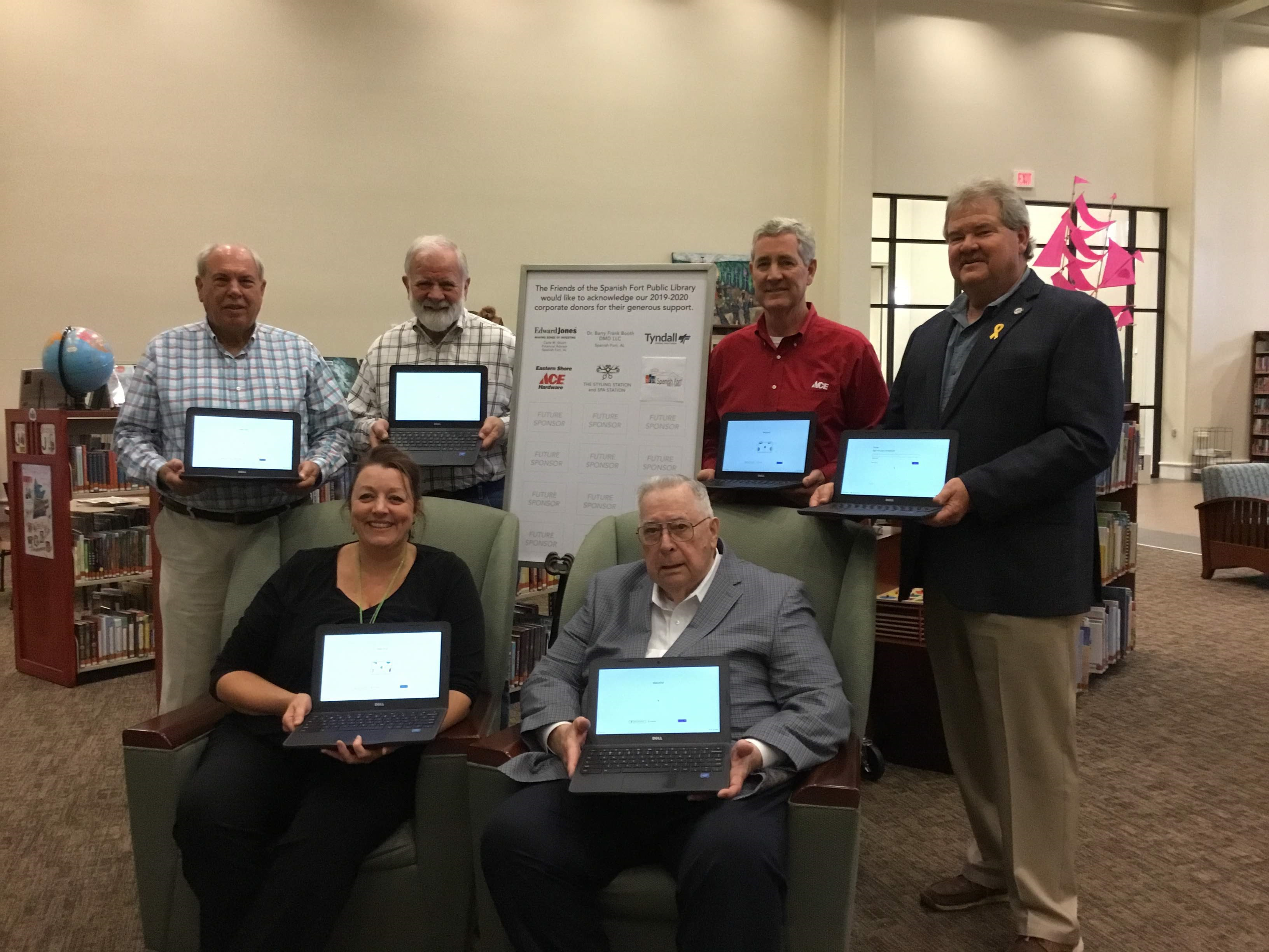 Friends of the Spanish Fort Public Library Donate six Chromebooks on October 31, 2019.