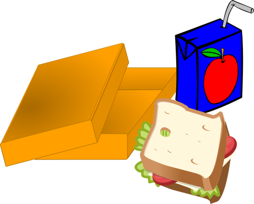 School lunch cartoon with sandwich and juice