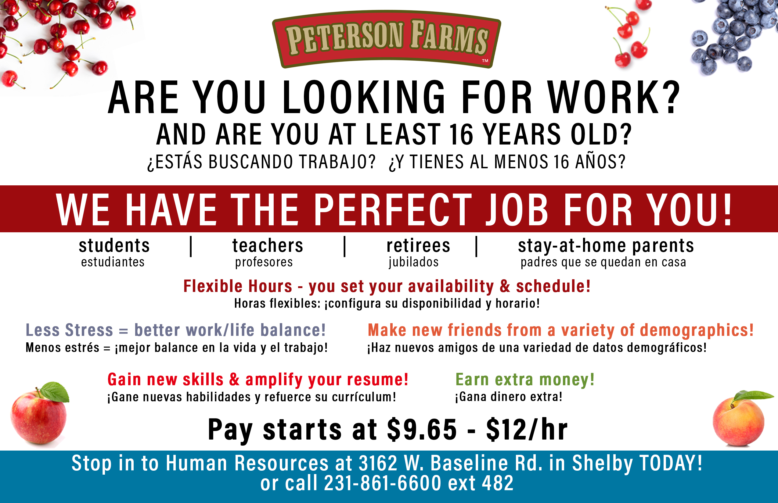Peterson Farms Recruitment flyer for Summer Work