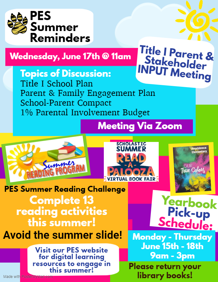 PES Summer Reminders