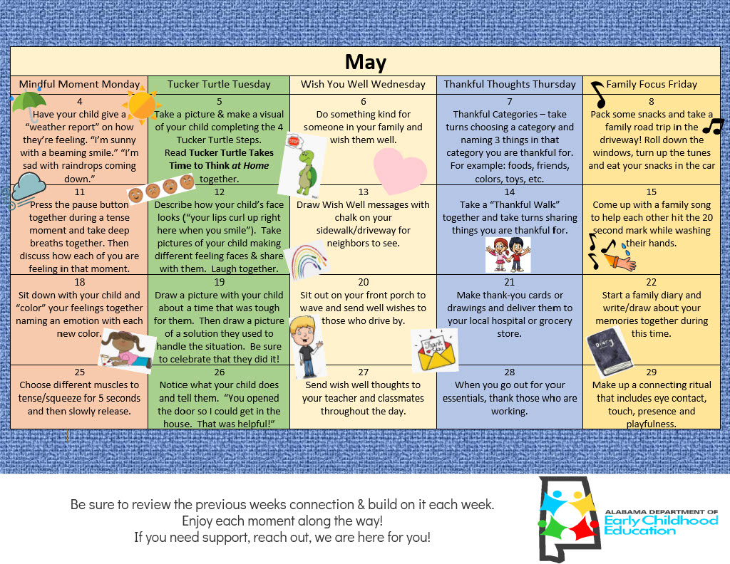 Alabama Department of Early Childhood May Calendar