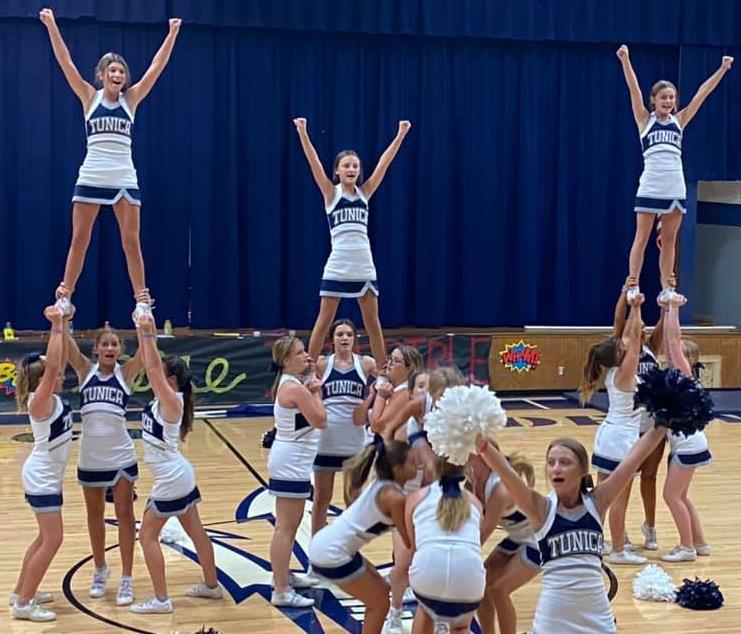 JV cheer stunts