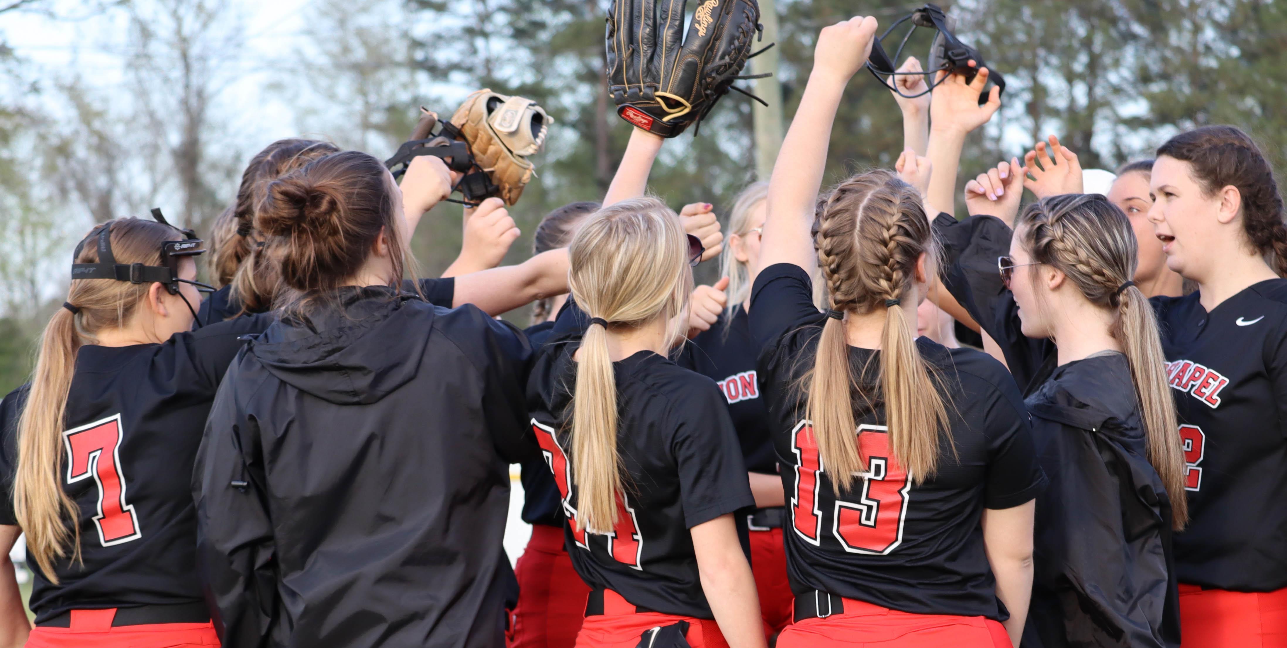 Softball huddle