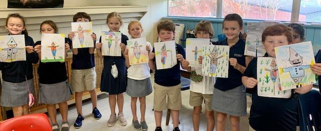 2nd grade art students
