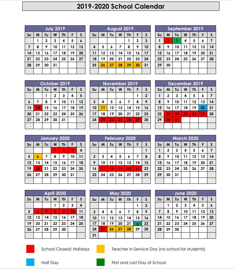 2019-20 School Calendar
