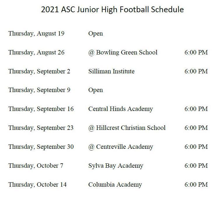JH FB Schedule