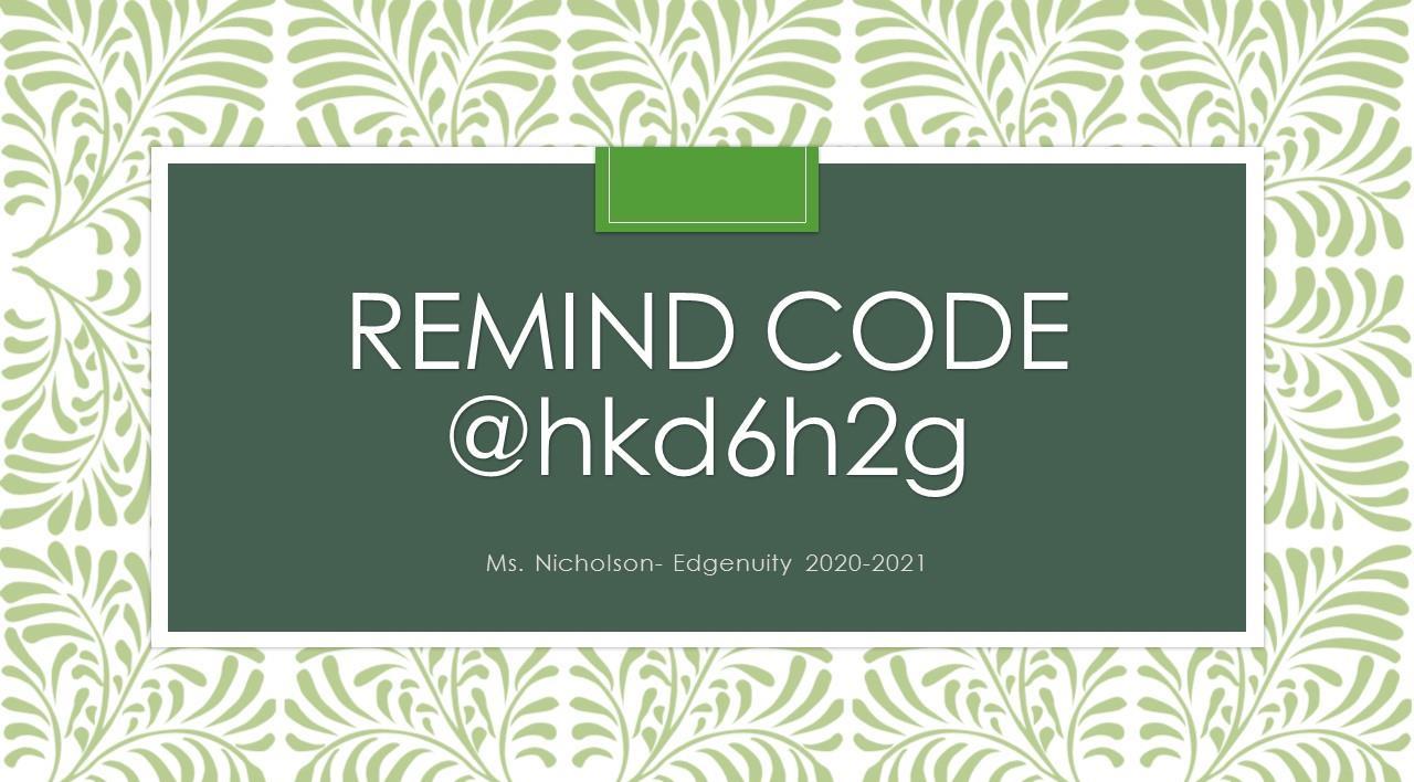 Remind code