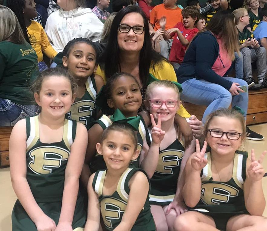 Principal with Pee Wee Cheerleaders