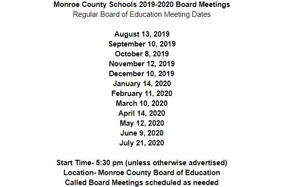 BOE Meeting Dates
