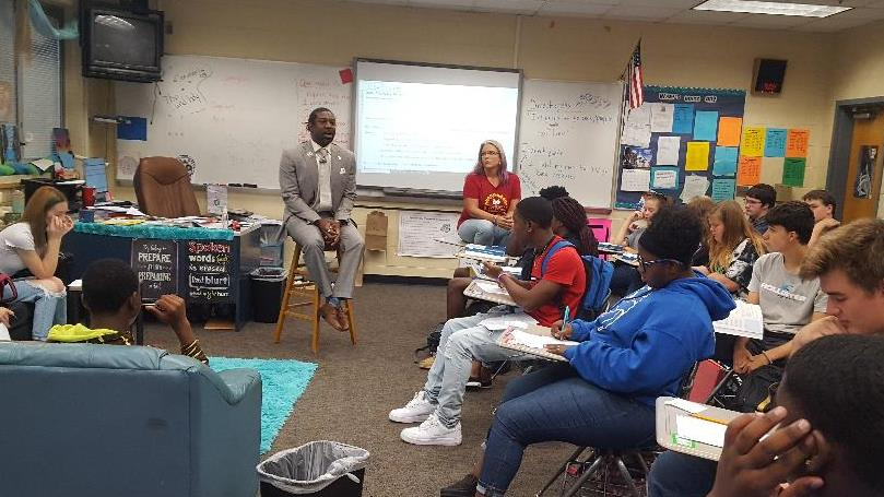 Florida teacher of the Year, Dr. Dre Graham, talking to Mrs. Howell's Freshman English class.