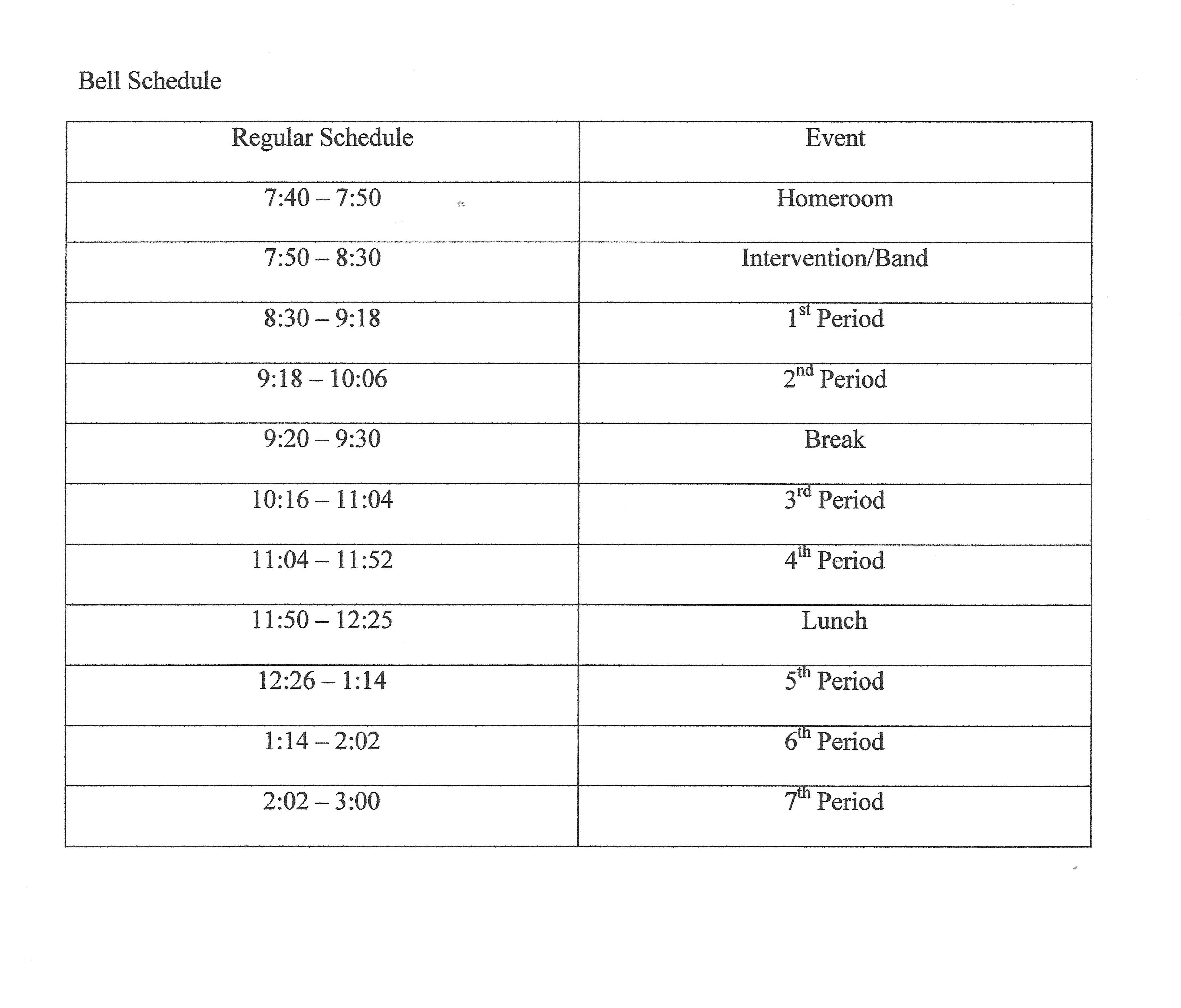 Pickens County School Calendar.Class Schedule