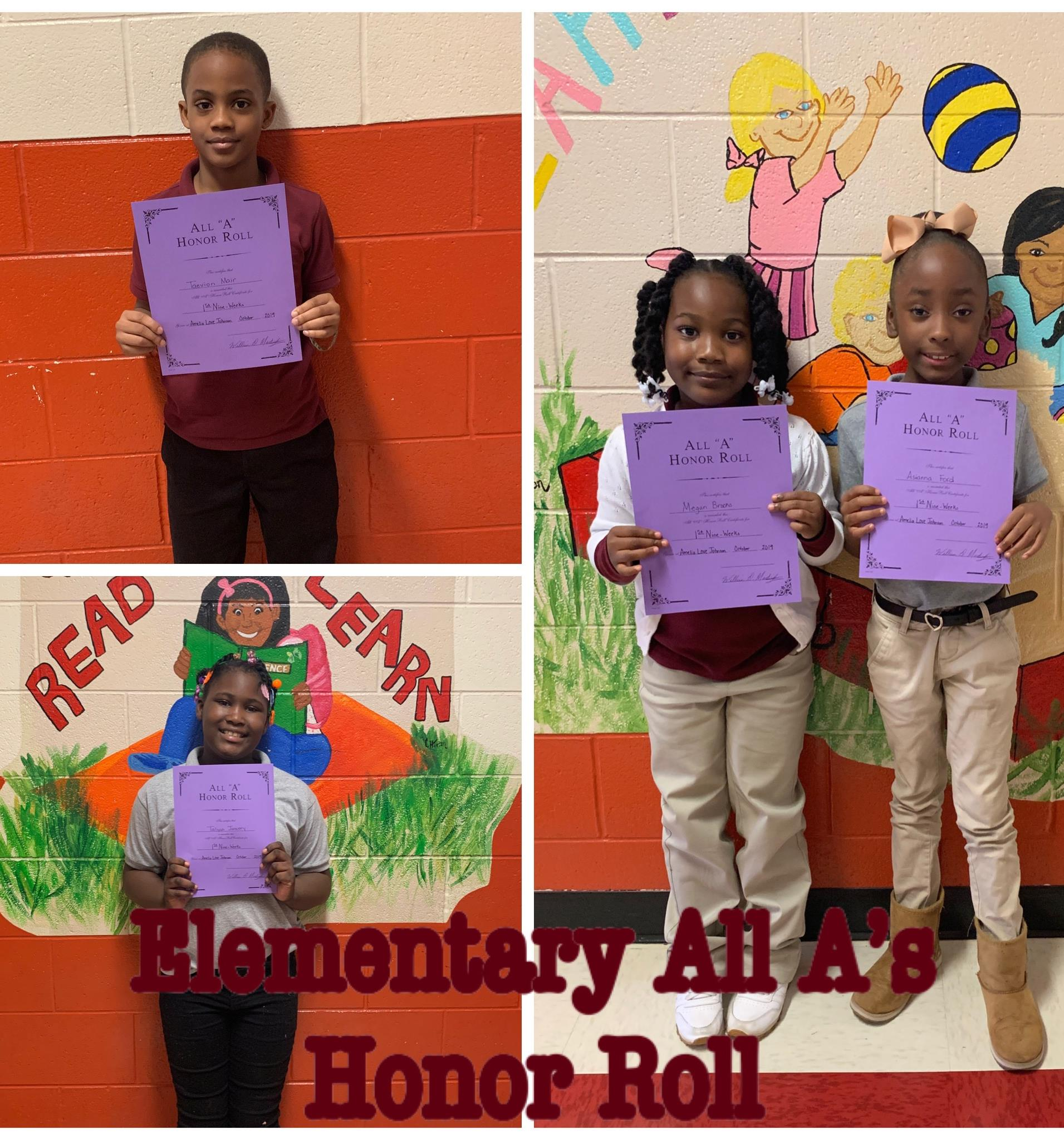 1st Nine Week All-A Honor Roll
