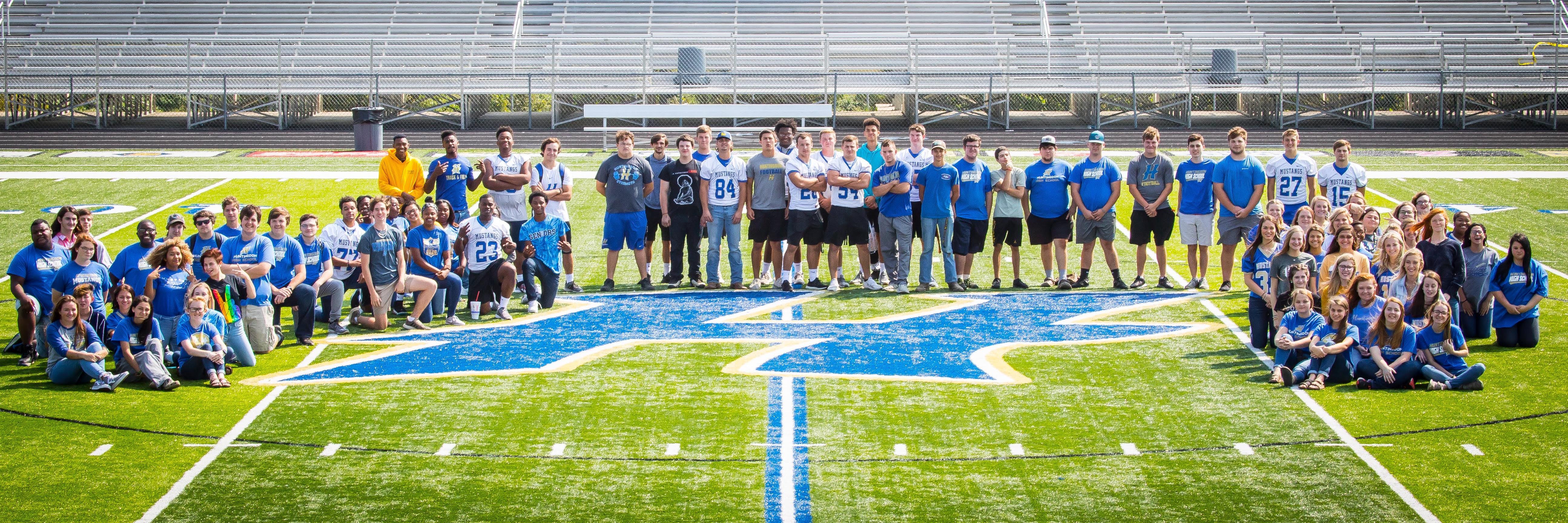 Seniors on football field