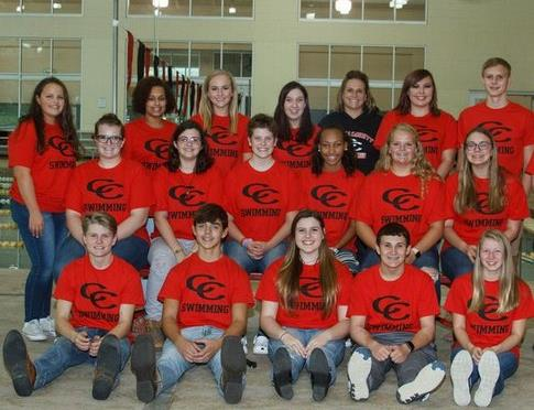 Swimming Team with red Tshirts