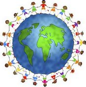 Early Childhood Learning Children holding hands around world